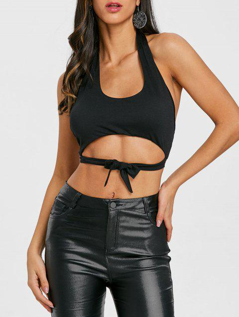 Tie Up Backless Halter Crop Top - BLACK XL