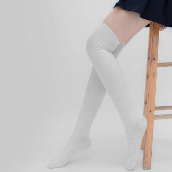 Simple Striped Pattern Thigh High Socks - WHITE