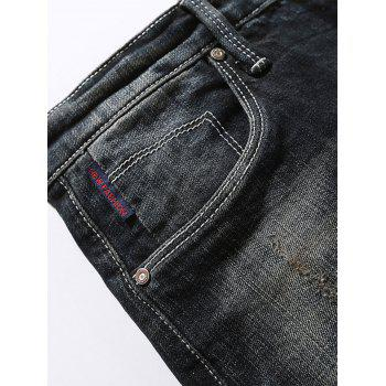 Slim Fit Casual Faded Jeans - BLACK 32
