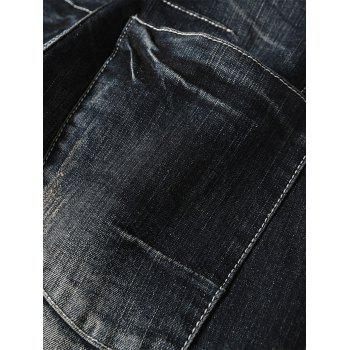 Slim Fit Casual Faded Jeans - BLACK 36