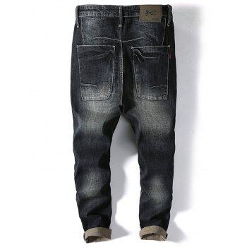 Slim Fit Casual Faded Jeans - BLACK 38