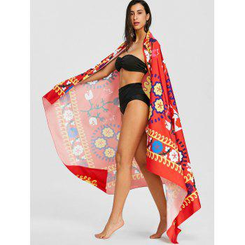Ethnic Floral Print Sunbath Beach Throw - RED ONE SIZE