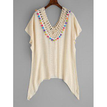 Crochet Panel Batwing Sleeve Cover Up - BEIGE ONE SIZE