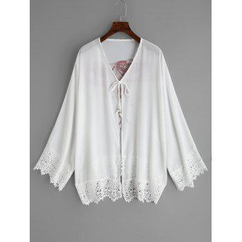 Chiffon See Thru Eagle Print Cover Up - WHITE ONE SIZE
