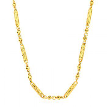Plated Column Ball Pattern Chain Necklace - GOLDEN