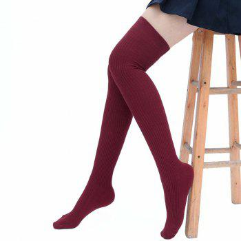 Simple Striped Pattern Thigh High Socks - WINE RED