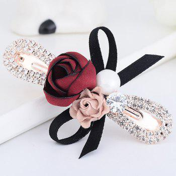 Vintage Rose Bowknot Embellished Hairclip - DEEP RED
