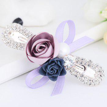 Vintage Rose Bowknot Embellished Hairclip - PURPLE