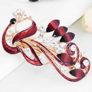Unique Peacock Shaped Rhinestone Hair Clip - RED