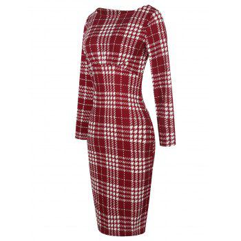 Long Sleeve Plaid Bodycon Dress - RED S