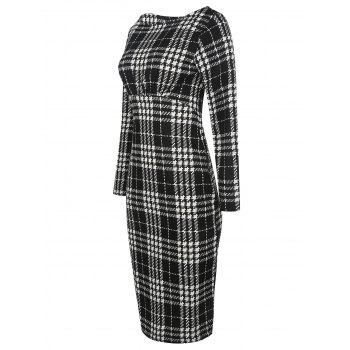 Long Sleeve Plaid Bodycon Dress - BLACK S