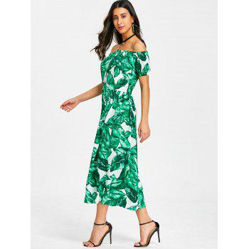 Leaves Print Off The Shoulder Midi Dress - GREEN M