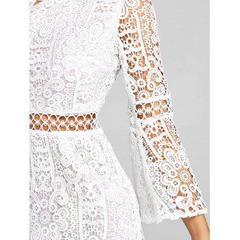Flare Sleeve One Shoulder Lace Dress - WHITE M