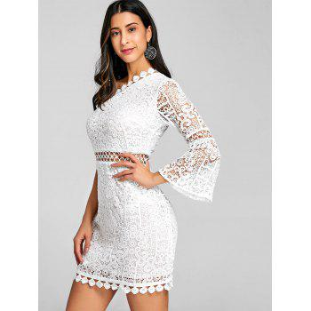 Flare Sleeve One Shoulder Lace Dress - WHITE S