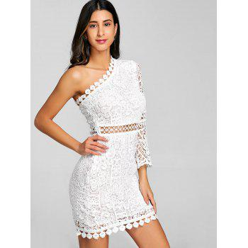Flare Sleeve One Shoulder Lace Dress - WHITE L