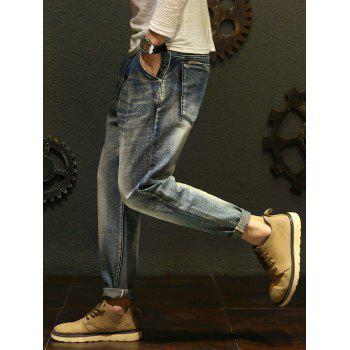 Slim Casual Straight Jeans - BLUE 34