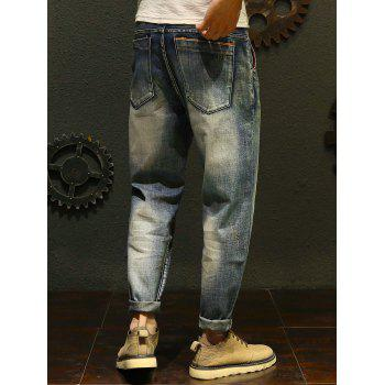 Slim Casual Straight Jeans - BLUE 36