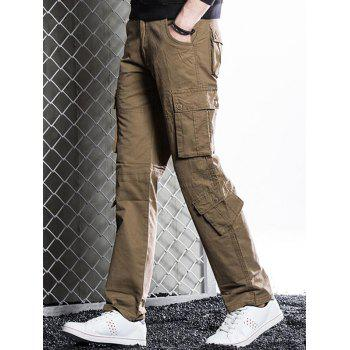 Zip Fly Straight Cargo Pants with Button Flap Pockets - COFFEE 38