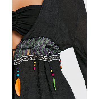Wrap Feather Fringed Beach Cover Up - BLACK ONE SIZE