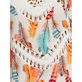 Crochet Panel Feathers Print Cover Up - OFF WHITE ONE SIZE