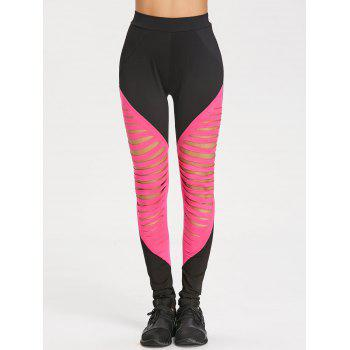 Ripped High Waist Workout Leggings - SANGRIA M
