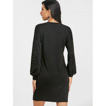 Casual Faux Pearl Long Sleeve Dress - BLACK L
