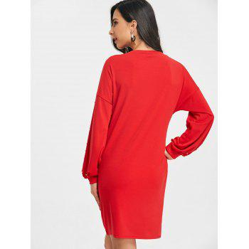 Casual Faux Pearl Long Sleeve Dress - RED XL