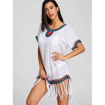 See Thru Fringed Crochet Insert Cover Up Dress - WHITE ONE SIZE