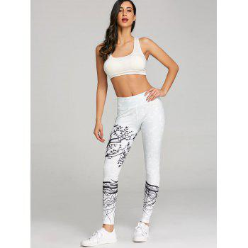 Skinny Branch Print Sports Leggings - LIGHT GRAY M