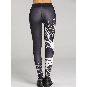 Skinny Branch Print Sports Leggings - BLACK XL