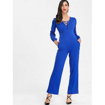 Lace Up Plunging Jumpsuit - BLUE M