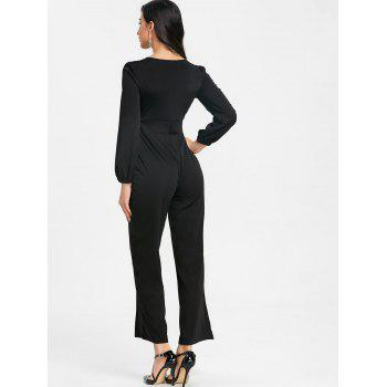 Lace Up Plunging Jumpsuit - BLACK L