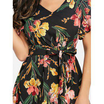 Floral Print V Neck Dress - COLORMIX S