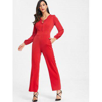 Lace Up Plunging Jumpsuit - RED M