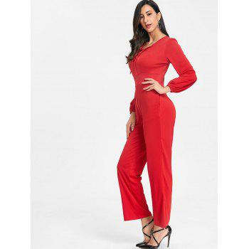 Lace Up Plunging Jumpsuit - RED XL