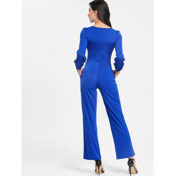 Lace Up Plunging Jumpsuit - BLUE XL