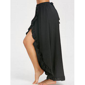 Ruffle Slit Maxi Skirt - BLACK L