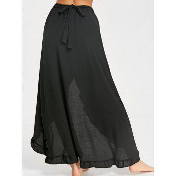 Ruffle Slit Maxi Skirt - BLACK M