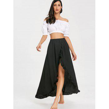 Ruffle Slit Maxi Skirt - BLACK S