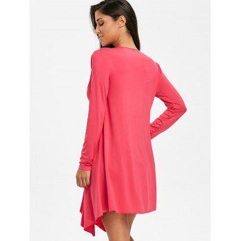 Beach Collarless Long Sleeves Cover Up - ROSE RED ONE SIZE
