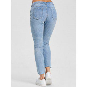 Raw Hem Ripped Denim Jeans - DENIM BLUE L