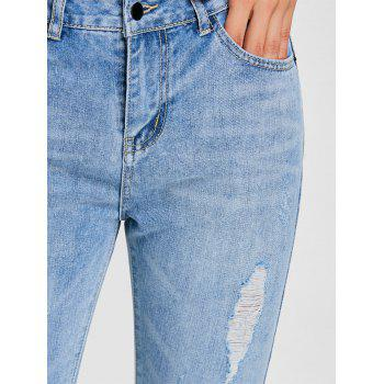 Raw Hem Ripped Denim Jeans - DENIM BLUE 2XL