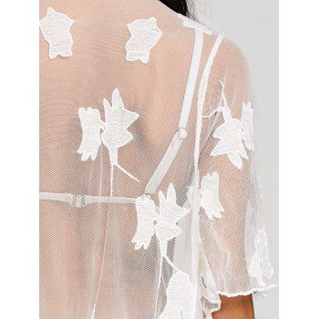 Mesh See Through Fringed Cover Up - WHITE ONE SIZE