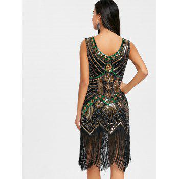 Fringe Sequined Beaded Midi Sparkle Dress - GOLDEN 2XL