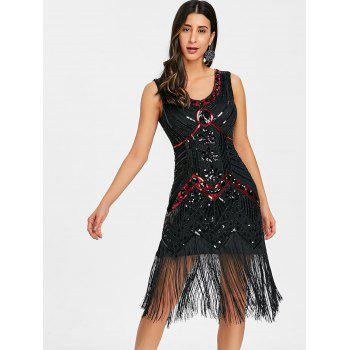 Fringe Sequined Beaded Midi Sparkle Dress - DEEP RED L