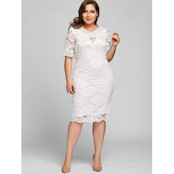 2018 Plus Size Half Sleeve V Neck Lace Dress White Xl In Lace