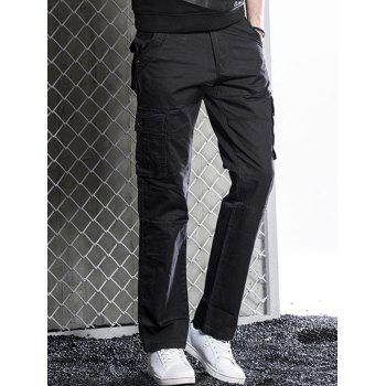Zip Fly Straight Cut Flap Pockets Cargo Pants - BLACK 38