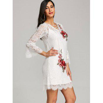 Embroidery Bell Sleeve Lace Dress with Cami Dress - WHITE M