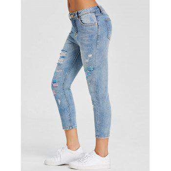 Ripped Embroidery Skinny Jeans - DENIM BLUE L