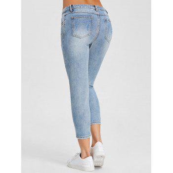 Ripped Embroidery Skinny Jeans - DENIM BLUE XL